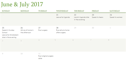 June & July 2017 calendar, showing events on 21st through 28th