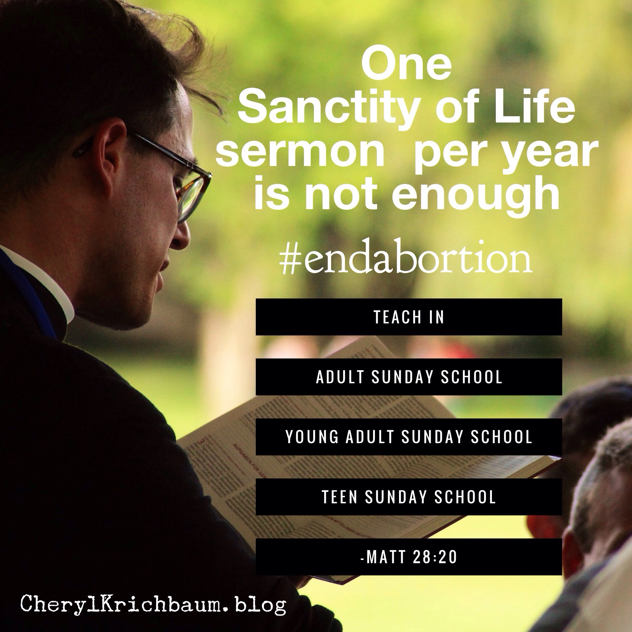 One Sanctity of Life sermon per year is not enough